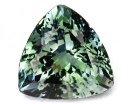 2.85 Cts Natural Tanzanite Bi-Color Bluish Green Trillion Cut Tanzania