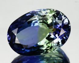 ~BEAUTIFUL~ 5.66 Cts Natural Tanzanite Bi-Color Blue - Green Oval Cut Tanza