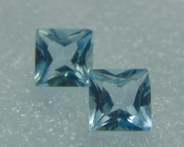 FLAWLESS SPARKLING collective blue topaz square pair 6.0mm