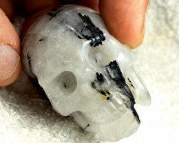 473.5 Tcw. Quartz Skull with Black Tourmaline