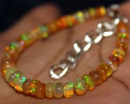 30 Crt Natural Ethiopian Welo Fire Yellow Opal Beads Bracelet 22