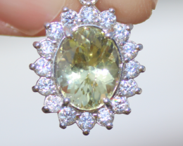 Yellow Tanzanite or Zeolite 2.25ct,White Gold Plated,Solid Sterling Silver