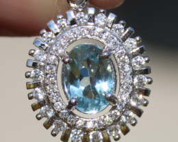 Aquamarine 1.40ct,White Gold Plated,Solid Sterling Silver Pendant