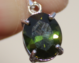 Chrome Tourmaline 1.55ct, White Gold Plated, Solid Sterling Silver Pendant,
