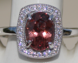 Imperial Garnet 1.95ct,White Gold Plated,Solid Sterling Silver Ring