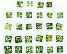 ~PRINCESS~ 2.02 Cts Natural Green Sapphire Square 30 Pcs Madagascar