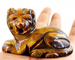 Genuine 590.00 Cts Golden Tiger Eye Lion