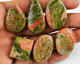 Genuine 195.00 Cts Blood Green Unakite Gem Lot