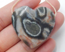 Ocean Jasper Pendant ,Natural Ocean Jasper ,Heart Pendant ,Wholesale B352