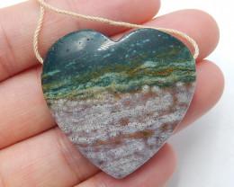 Ocean Jasper Pendant ,Natural Ocean Jasper ,Heart Pendant ,Wholesale B355