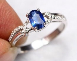 1.84g Natural African Pastel Blue Sapphire 925 Sterling Silver Ring A0104