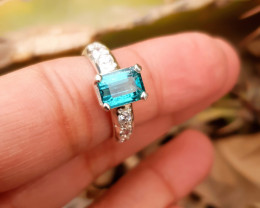21 Ct Natural Blue Tourmaline With Small White Zircons Ring Size 5.5