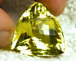 CERTIFIED - 64.83 Ct African VVS Lemon Quartz Trillion - Superb
