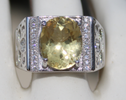 Yellow Scapolite 4.50ct,White Gold Plated,Solid Sterling Silver Ring