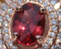 Mahenge Red Spinel 1.15ct,Rose Gold Plated,Solid Sterling Silver Ring