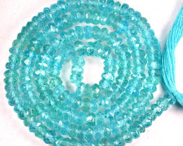 46.53 Cts Natural Apatite Beads Paraiba Color - 35 cm - 4.0 x 3.8 mm