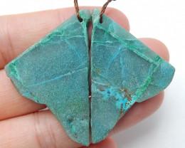 Raw Chrysocolla Square Earring Beads, stone for earrings making B403