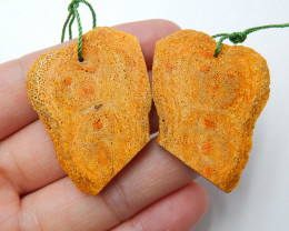 Raw Orange Coral  Earring Beads, Stone for earrings making ,Healing B406