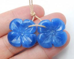 New Arrival Blue Jasper  Earring Beads, Flower Pendant ,Healing Stone B09