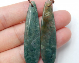 Sale Oval Moss Agate Earring Beads, stone for earrings making,Healing Stone