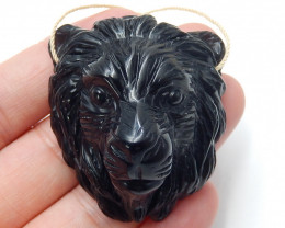 Hand carved gemstone pendant ,lion pendant ,natural obsidian ,gemstone B420