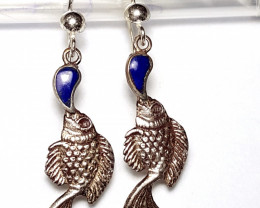 Amazing Sliver Fish with Lapis Lazuli Earring 17Cts -Afghanistan