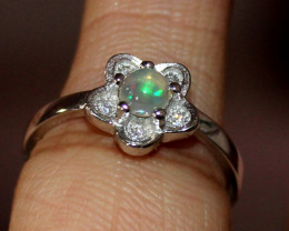 Natural Ethiopian Welo Fire Opal 925 Silver Ring Size (5 US ) 175