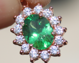 Tsavorite Garnet 1.20ct,Rose Gold Plated,Solid Sterling Silver Pendant