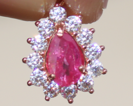 Tajik Ruby .94ct,Rose Gold Plated,Solid Sterling Silver Pendant