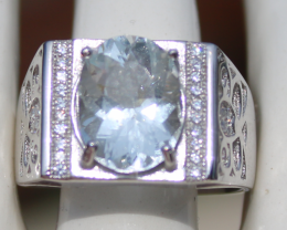 Aquamarine 4.50ct,White Gold Plated,Solid Sterling Silver Ring