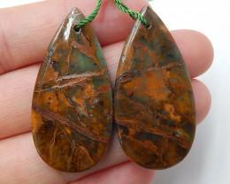 Oval green opal earrings  semi-precious stones jewelry accessories B437