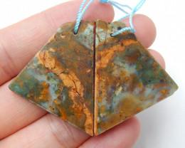 Raw green opal earrings semi-precious stones jewelry accessories B438
