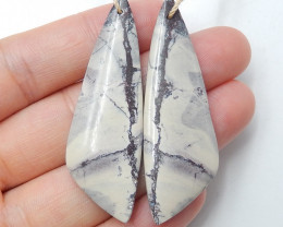 59.5cts  Natural Purple Jasper earrings ,Triangle earrings ,Designer Making