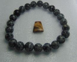Natural Snowflake Obsidian 8 mm Bracelet
