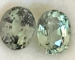 Pretty Oval Green Sapphire Pair