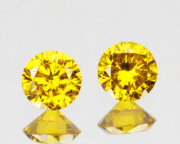 ~PAIR~ 0.14 Cts Natural Sparking Yellow Diamond Round Africa