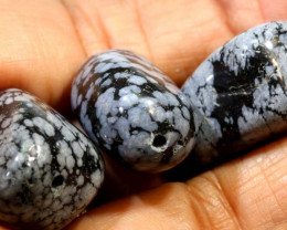 99- CTS SNOWFLAKE OBSIDIAN BEAD PARCEL NP-2582