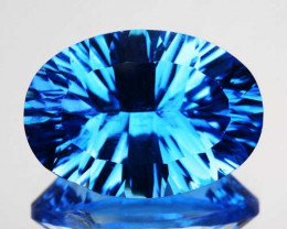 6.88Ct Gorgeous  Swiss Blue Natural Topaz Concave Oval