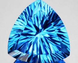 7.03Cts Mind Blowing Natural  Swiss Blue Topaz Trillion Concave