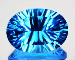 7.37Cts Unbelievable concave cut Swiss Blue Topaz Oval
