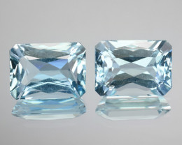 ~PAIR~ 3.61 Cts Natural Blue Aquamarine Octagon (Scissor Cut) Brazil