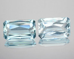 3.90 Cts Natural Blue Aquamarine Octagon 2 Pcs (Scissor Cut) Brazil