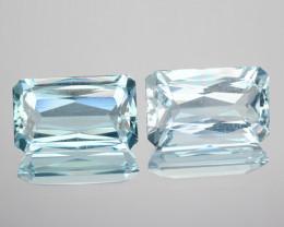 3.90 Cts Natural Blue Aquamarine Octagon 2 Pcs (Scissor Cut) Brazil