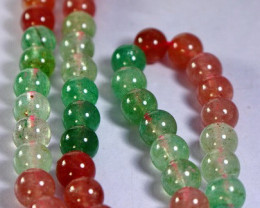 192 Cts  Natural Pink & Green Chlorine Quartz  Beads