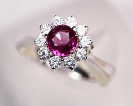 3.20g Natural Purple Rhodolite Garnet 925 Sterling Silver Ring E0401