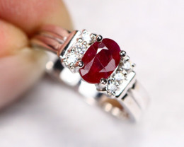 3.36g Natural Mozambique Red Ruby 925 Sterling Silver Ring E0405