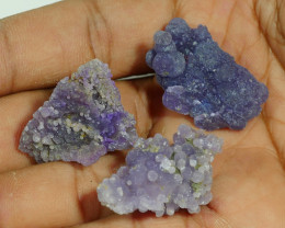 92.80 CRT 3PCS NATURAL INDONESIAN GRAPE CHALCEDONY SPECIMEN -E87-