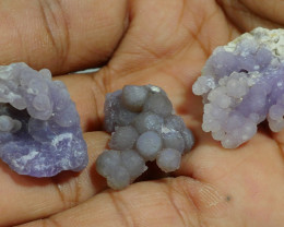81.65 CRT 3PCS NATURAL INDONESIAN GRAPE CHALCEDONY SPECIMEN -E89-
