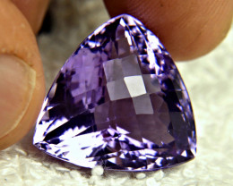 CERTIFIED - 27.02 Ct. Trillion Cut VVS Brazil Amethyst - Gorgeous