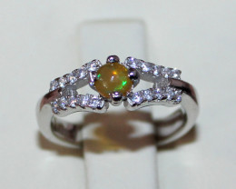Natural Ethiopian Welo Fire Opal 925 Silver Ring Size (3.5 US ) 173